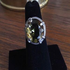 Silpada Sterling Silver Olivine Swarovski Ring